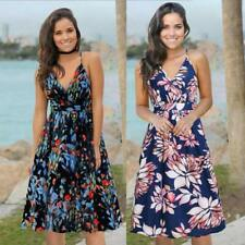 Maxi Halter Beach Party Sleeveless Women Boho Floral Long Sundress Belted Dress