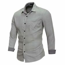 Casual Slim Fit 100% Cotton Dress Shirts New Fashion Luxury Casual Mens Stylish