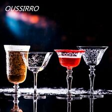 Star Martini Champagne Flutes Cup Engraved Flower Glass Bartender Cup Red Wine
