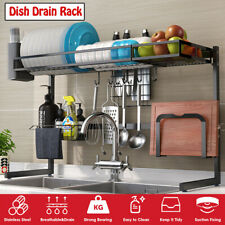 Stainless Steel Over Sink Dish Drying Rack Plate 2-Tier Organizer Holder Kitchen