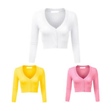 Women Ladies Button Down Cropped Bolero Long Sleeve Knit Cardigan Sweater Top