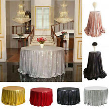 """23""""-130"""" Round Sequin Tablecloth Cover Christmas Party Dessert Cake Table Cloth"""