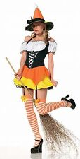 Adult Women's 3 Piece CANDY CORN WITCH Costume! Sizes XS, S, M, L