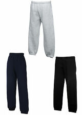 FRUIT OF THE LOOM KIDS JOG PANTS BOTTOMS 3 COLS ALL AGE