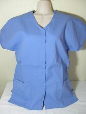 PERSONALIZED SCRUB SNAP TOP CEIL BLUE POLY/COTTON Sz XS-5X Embroidered your Text