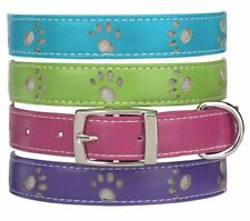 Zack Zoey Dog Collar Faux Leather  Paws green pink