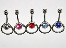 "Belly Button Navel Ring Crystal Gem Slave Door Knocker 5 Colors 14G 3/8"" Length"