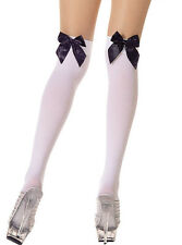 Music Legs Opaque Over Knee W/ Satin Bow.