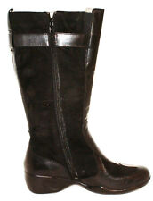 HUSH PUPPIES LADIES LEATHER MID-CALF BOOTS Black/Grey