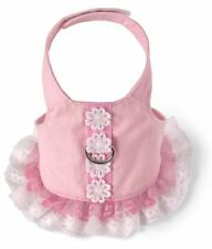 Adorable Flower Dress Dog Harness pink Doggles Pet Cotton Lace