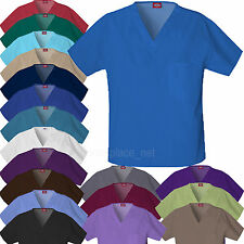 DICKIES Scrubs Top UNISEX Mens Womens V-NECK Shirts Chest Pocket 810106