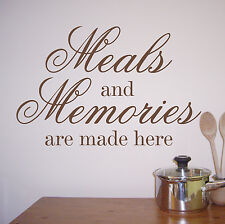 Wall Quote Sticker Decal - Meals & Memories WA237X