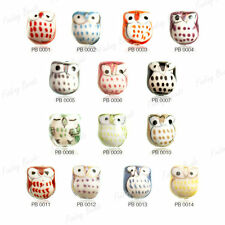 FREE SHIP Porcelain Owl Beads Animal CHOOSE colour