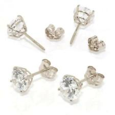 Brilliant Cut Round CZ Stud Earrings Push On Screw Off Back Real 14K White Gold