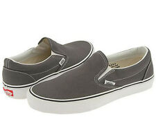 NEW MEN WOMEN  VANS CLASSIC SLIP ON GRAY CHARCOAL GREY WHITE VN-0EYECHR ORIGINAL