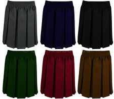 GIRLS SCHOOL BOX PLEAT SKIRT UNIFORM ELASTICATED WAIST