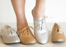 Comfy Classic Oxfords Flats Shoes Gold Silver Glitter