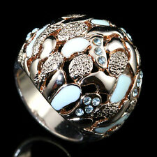 18k RG GP Enamel Dome Ring with Swarovski Crystal