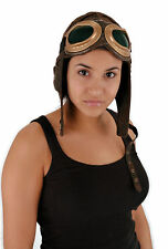 Aviator Costume Cap Only Faux Suede Brown Elope, Unisex Free Usa Shipping 3105