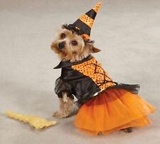Witch Dog Halloween Costume XS-XL Pet Dress Casual Canine orange black