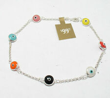 Multi Color Evil Eye Luck Ankle Bracelet Anklet REAL 925 Sterling Silver FREE SZ
