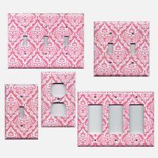 Blush/Rose Pink & White Intricate Damask Floral Light Switch Plate/Outlet Covers