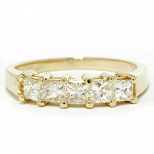 LADIES 14KT REAL DIAMOND RING 1.00CT 5 STONE PRINCESS CUT BAND 14K YELLOW GOLD