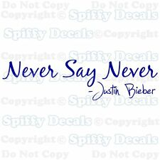 NEVER SAY NEVER JUSTIN BIEBER ALBUM Quote Vinyl Wall Decal Decor Art Sticker