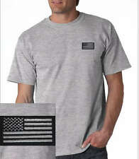 US Blacked out American- Military Flag EMBROIDERED T-Shirt Sport Gray   *Grey*