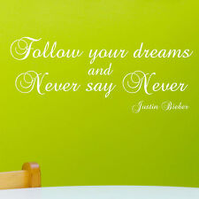 JUSTIN BIEBER WALL STICKER QUOTE - NEVER SAY NEVER Art Decal Decor - 22 Colours
