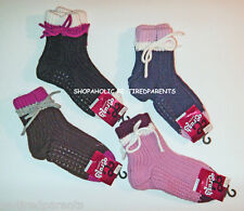 SLIPPERS – KNITTED BOOTIES – TIES - NON-SLIP – 4 CHOICES - GIRLS 6/8 – NWT $10