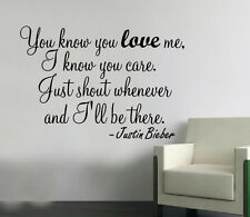 Justin Bieber You know WALL art sticker design Decor Large quote