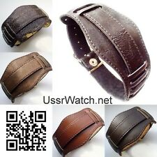 BRAND NEW 22 mm Russian MILITARY PILOT WATCH GENUINE LEATHER BAND 4 color TOP