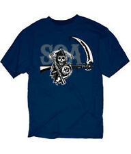 SONS OF ANARCHY LOGO DRIP REAPER NAVY T-SHIRT NEW !