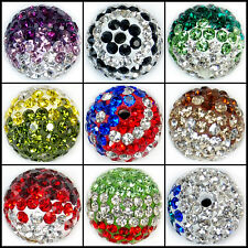 12mm Color Round Ball Pave Crystal Rhinestone Spacer Beads Jewelry DIY Findings