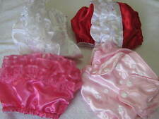 SATIN diaper cover--PUL--choose white, pink, lt pink, red, or rose costume satin