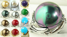 Charming 14mm white gray black red yellow red shell pearl 18KGP ring(#6,7,8,9)