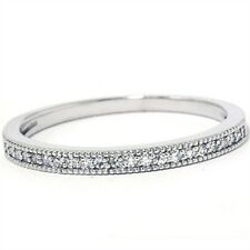 Ladies .25CT Round Brilliant Cut Diamond Ring Solid 14K White Gold Wedding Band