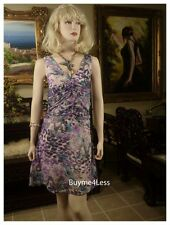 Peppe Peluso Purple Gathered Floral Silk Taffeta Victorian Chiffon Dress S M L