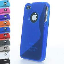 GEL SILICONE GRIP WAVE S-LINE CASE COVER FOR IPHONE 4 4S WITH VISIBLE APPLE LOGO
