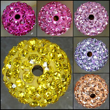 8mm 10mm 12mm Round Pave Crystal Rhinestone Spacer Beads Jewelry DIY Findings