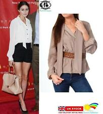LADIES PUSSY BOW TIE BLOUSE BEIGE SIZE 8-14 OFFICE WORK SMART CASUAL TOP SHIRT