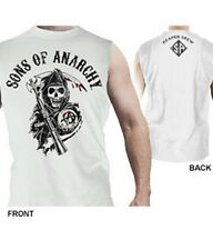 SONS OF ANARCHY REAPER CREW WHITE 2 SIDED PRINT MUSCLE T-SHIRT NEW !