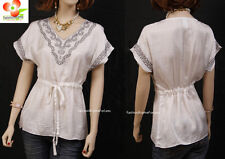 Mocha White Renaissance Cotton Embroidered Drawstring Peasant Blouse Shirt Top