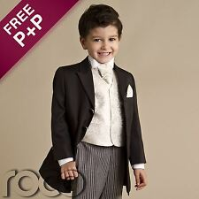 Baby Boys Black 4 piece Prince Edward Formal Prom Wedding Page boy cheap suit