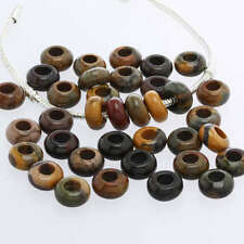 PICASSO JASPER GEM GEMSTONE BIG HOLE CHARM BEADS FINDINGS FIT EUROPEAN BRACELET