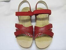 Clarks 'Rio Shine' Senior Girls Red Leather Sandals F Width Fitting