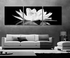 B/W Lotus With Reflection Modern Decorative Wall Clock Canvas Prints Set Of 3