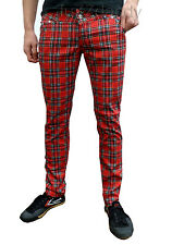 Drainpipes trousers skinny jeans vtg 80s 60s indie mod Red Tartan punk All Size