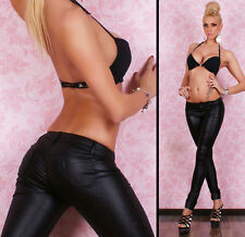 NEW SEXY LEATHER LOOK BLACK SMOOTH PANTS 8 10 12 14 PARTY/CLUB/CASUAL/EVENING